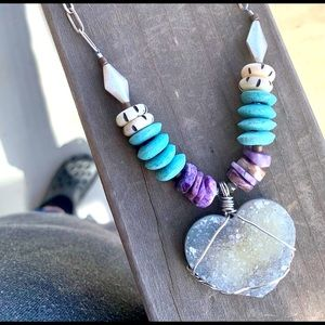Drusy Heart Necklace with Charoite & Trade Beads